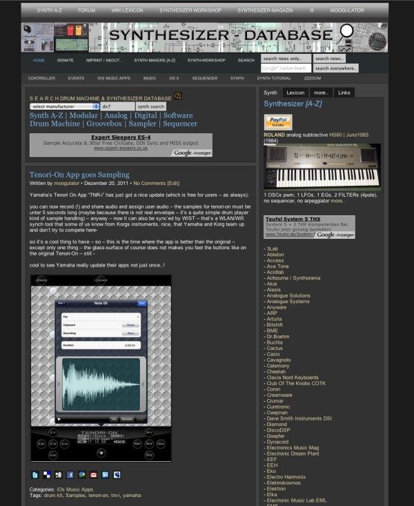 Sequencer.de Site Design 2011
