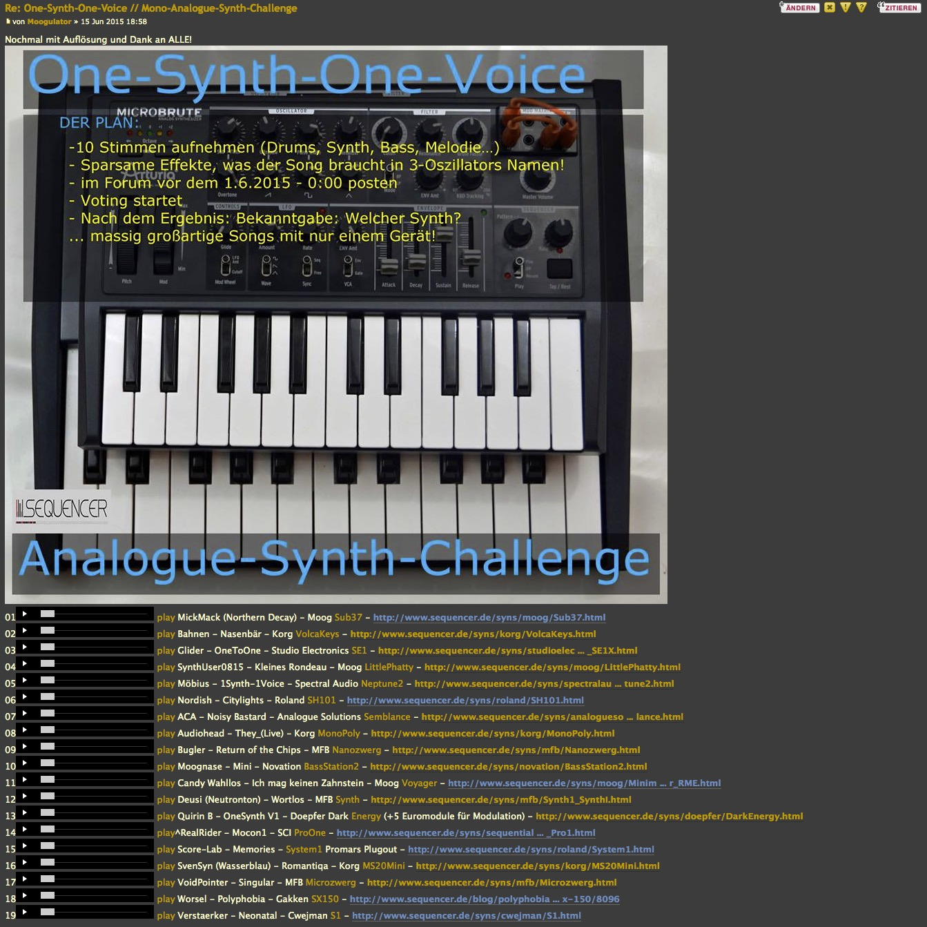 one synth one voice