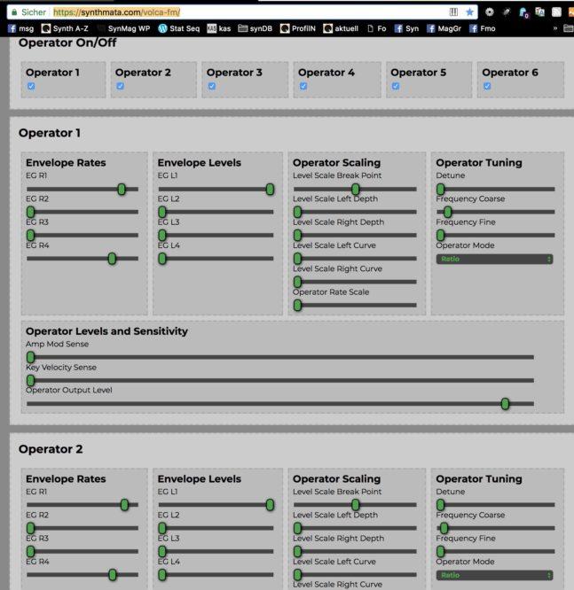 Free DX7 & Korg Volca FM Editor @ Web - Sequencer