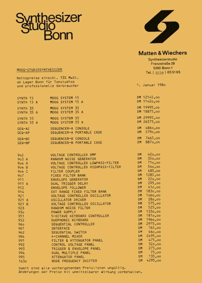 Preisliste Synthesizer - Moog 1980 - also im Ende der Angebotsphase für die Modulsysteme.