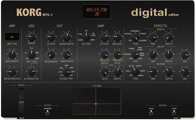 Korg NTS1 Editor - zeigt alle Parameter übersichtlich - der NTS1 hat MIDI & USB daher alles einfach zu erreichen.