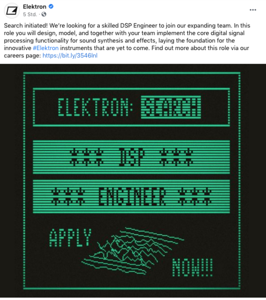 Elektron sucht Leute DSP Fairlight 80s