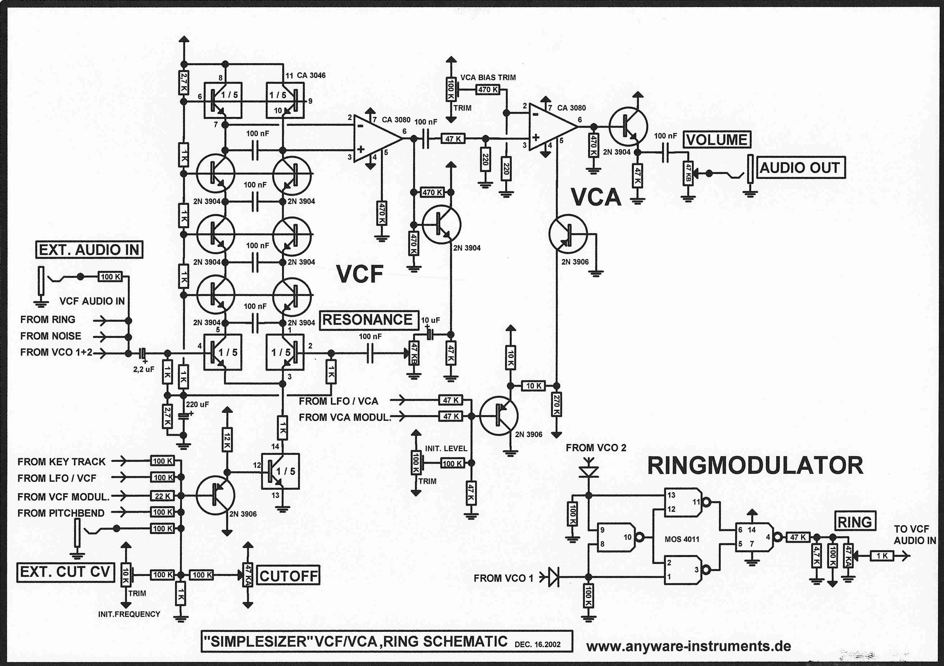 Synthesizer DIY Projekt SCHALTPLAN - DIE SCHALTPLÄNE Moogulatorium ...