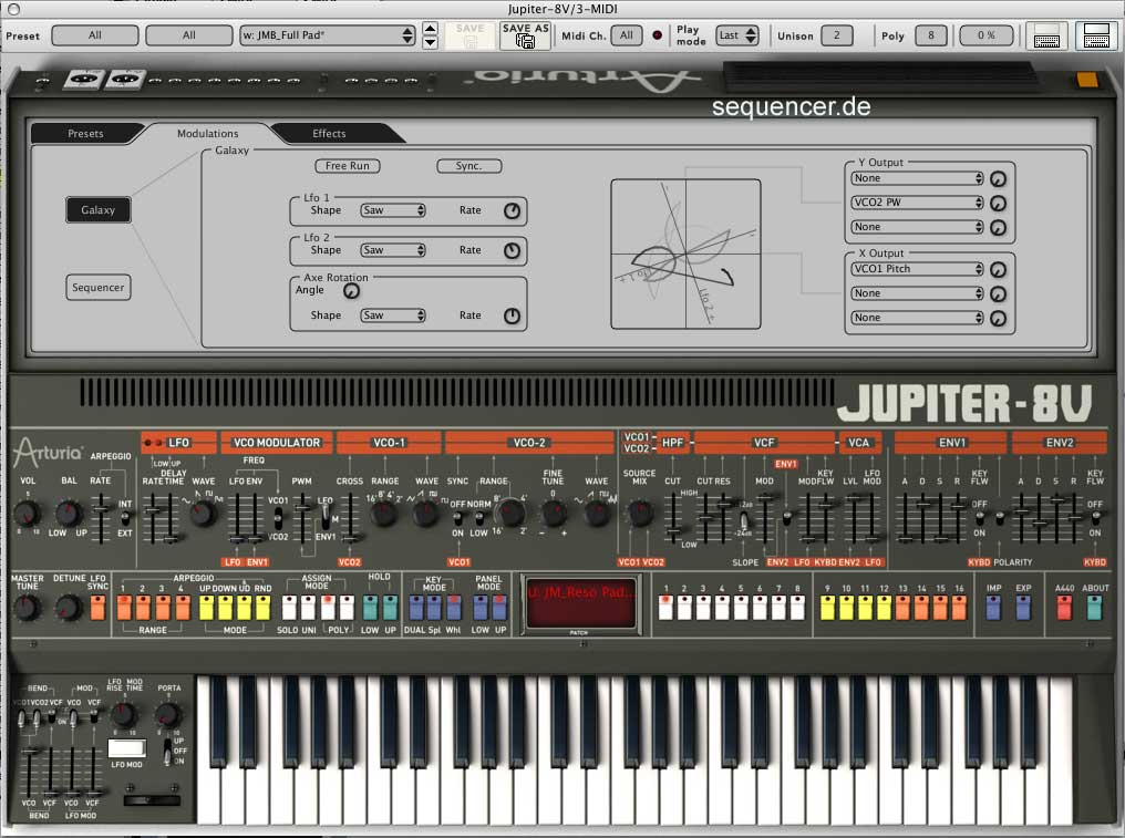 Arturia Jupiter8V synthesizer