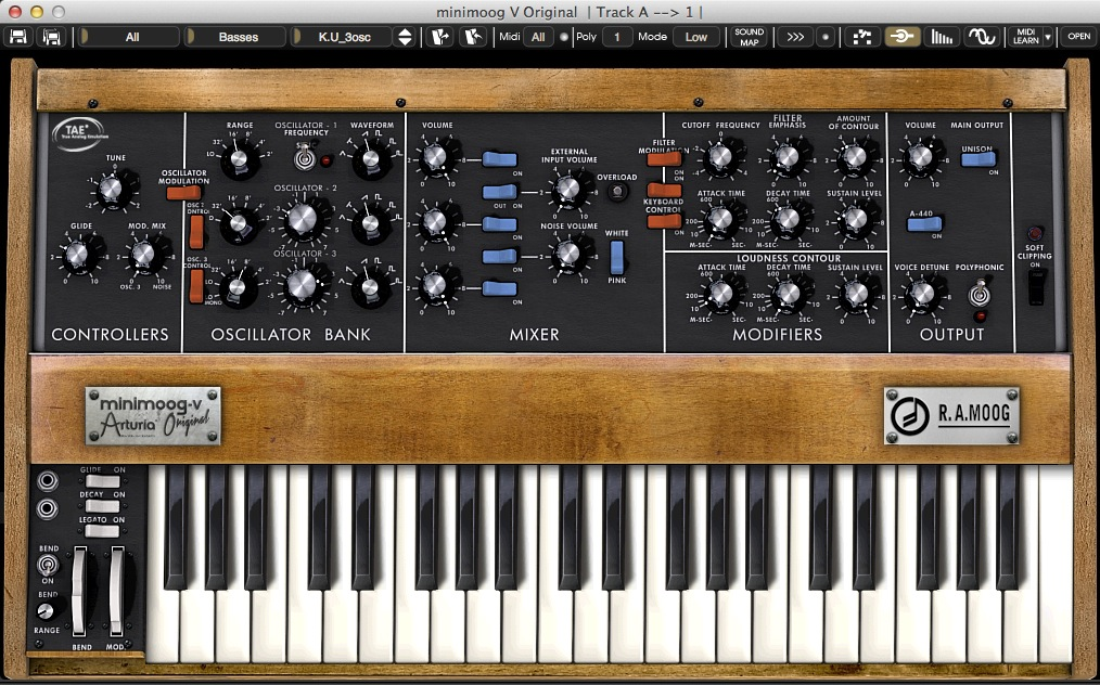 Arturia Minimoog V synthesizer