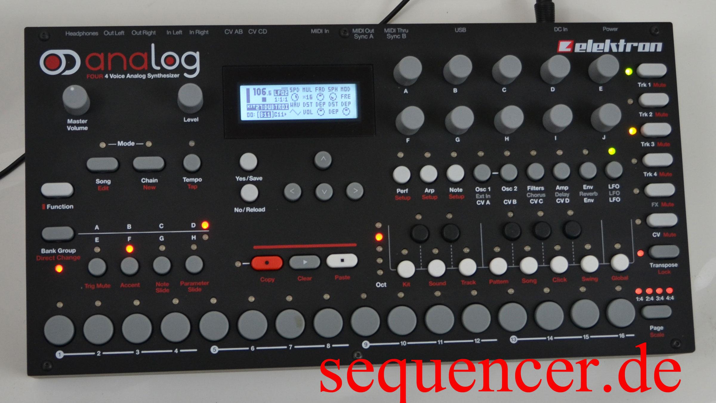 elektron analog four analog 4 a4 groovebox tr sequencer. Black Bedroom Furniture Sets. Home Design Ideas
