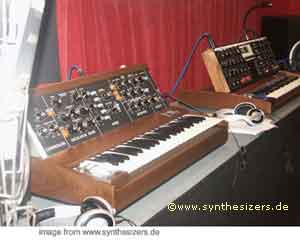 mini moog and voyager side by side